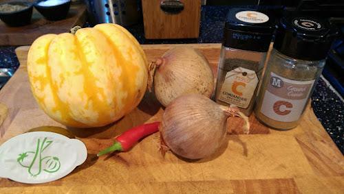 Squash, soup recipe, onion, coriander, chilli, vegetable stock, Cumin