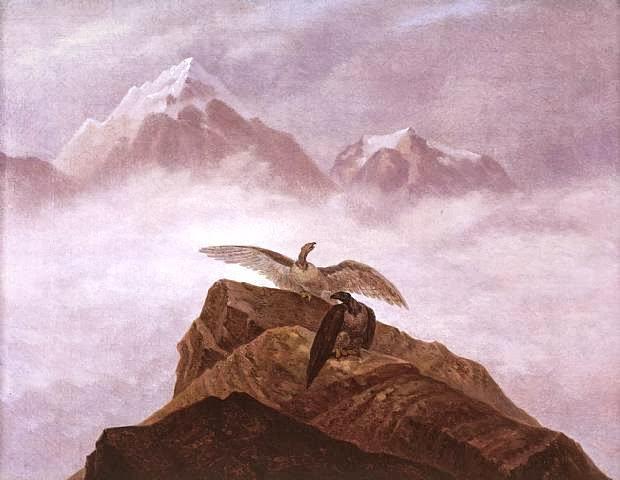 Carl Gustav Carus - Phantasie aus der Alpenwelt. Adler, die auf einem Alpenhorn misten