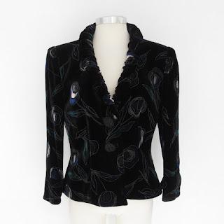 Giorgio Armani Painted Silk Velvet Blazer