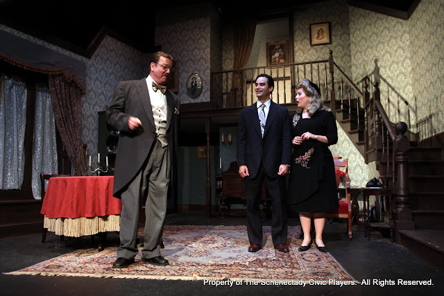 Robert Hegeman, Matthew Surman and Sara Fittizzi in ARSENIC AND OLD LACE (R) - May 2011.  Property of The Schenectady Civic Players Theater Archive.