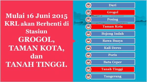 KRL Commuter Line Berhenti di Stasiun Grogol, Taman Kota dan Tanah Tinggi per 16 Juni 2015