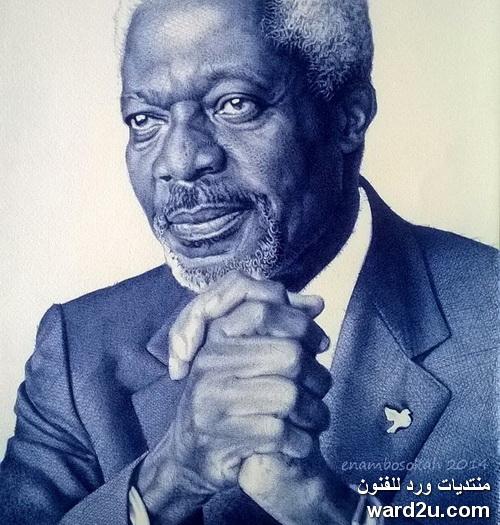 ملامح افريقية بالقلم الجاف فى اعمال الفنان Enam Bosokah