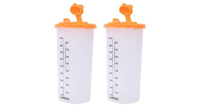 Nayasa Plastic Oil Dispenser, 1000ml, Set of 2, Orange