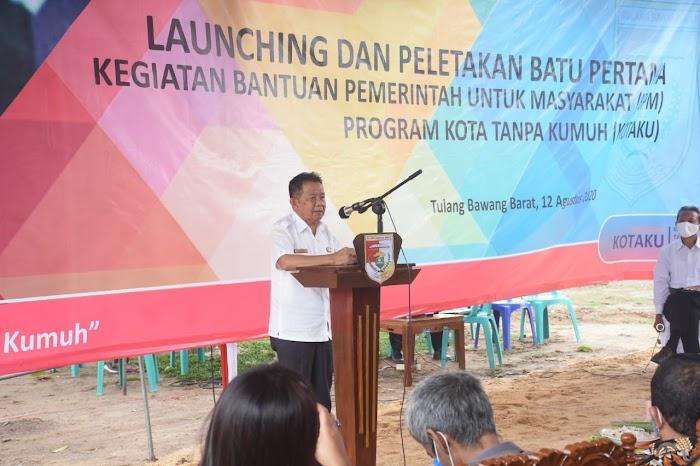 Wakil Bupati Tubaba Melakukan Peletakan Batu Pertama Di Mulya asri.