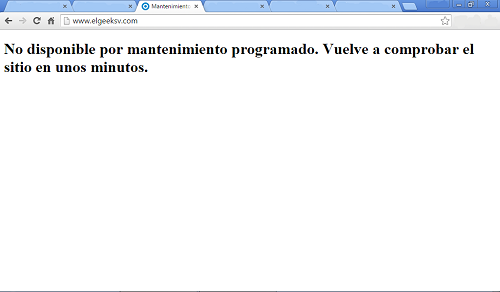 """No disponible por mantenimiento programado"" en WordPress"