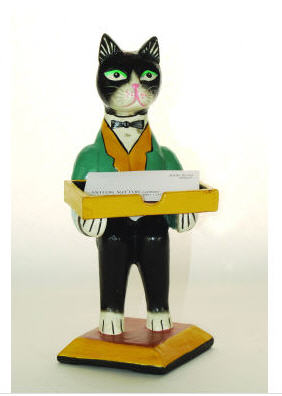 butler cat business card holder