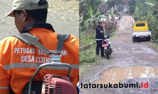 Meski Jalan Rusak, Kades Cijengkol Sukabumi Bagi Dua Gaji Untuk Bayar Petugas Kebersihan Jalan