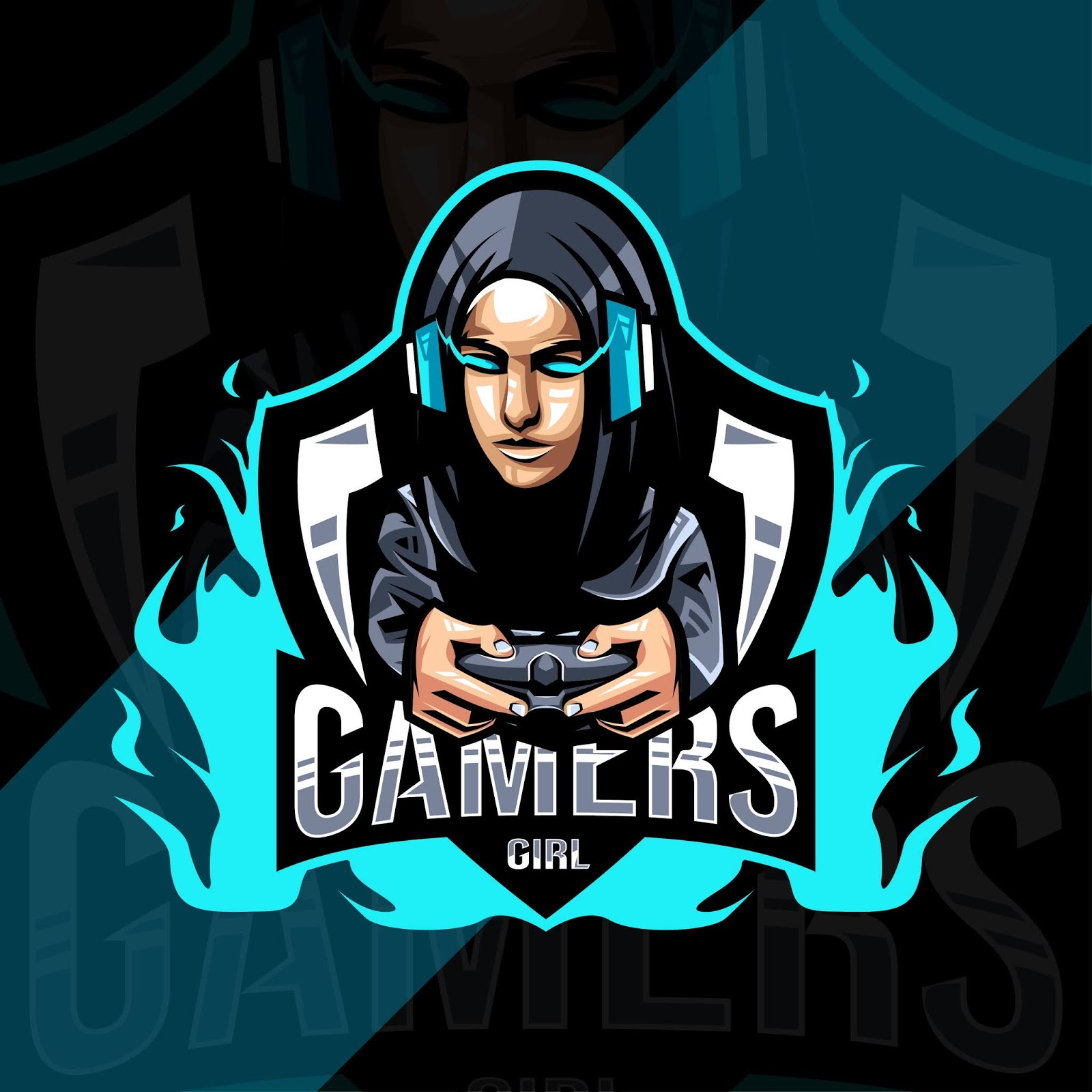 Gamers Girl Mascot Logo Design Free Download Vector CDR, AI, EPS and PNG Formats