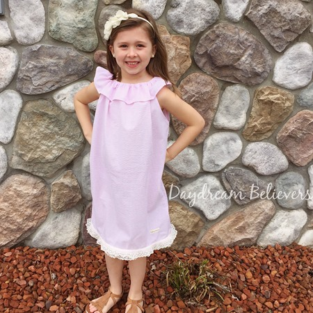Girls Seersucker Pink and White Classic Ruffle Neck sundress by Daydream Believers Designs 1