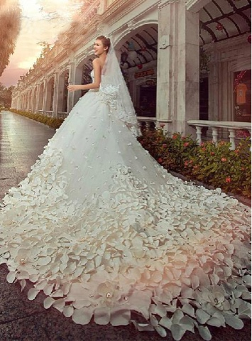 Charming Sweetheart Floor-Length Patterned Flower Beading Cathedral Wedding Dress (11341142)