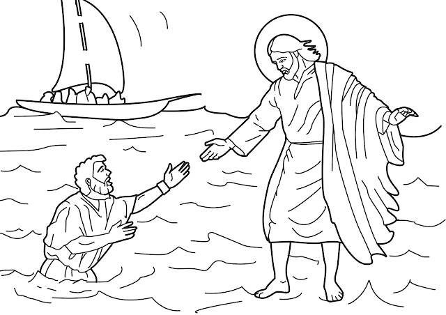 Jesus walk on the water coloring pages title=