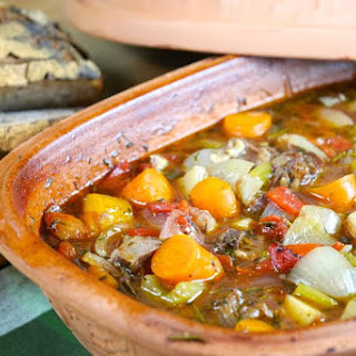 Baked Beef Stew in a Clay Pot.