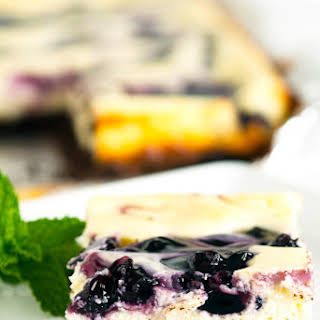 Blueberry Swirl Chocolate Cheesecake Bars.