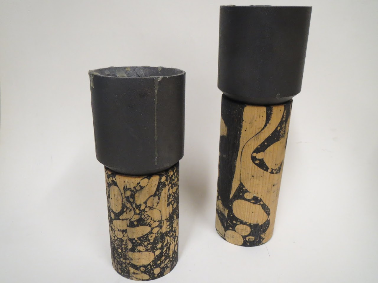 grain. Stick Candle Holder Marble Pair