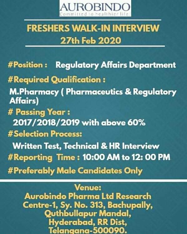 Aurobindo Pharma - Walk in interview for Fresher on 27th Feb 2020