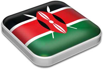 Flag of Kenya with metallic square frame