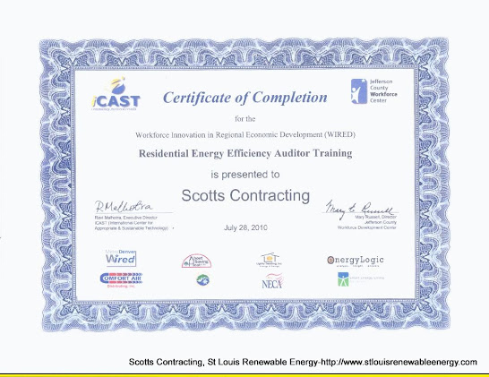 Certificate of Completion-Residential Energy Auditor Training for Scotty-Scotts Contracting