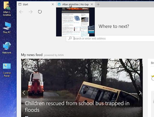 Windows 10 Edge tab previews