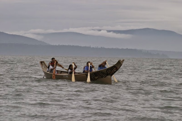 Tribal canoe gatherings give isolated communities a chance to build connections with other Northwest native peoples and canoeing helps young people reconnect with their heritage.Credit: Peter James
