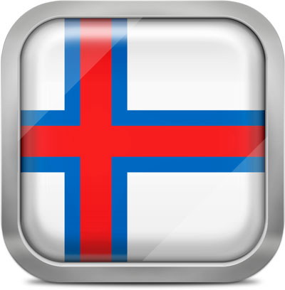Faroe Islands square flag with metallic frame
