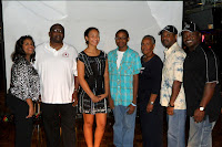 Julian Byrd scholarship recipients Taylor Mitchell and Cory McClure with scholarship committee members Vel Long-Watkins, chairman Ron Blue, Thelma Bowie, Miahael Patterson and president Ron Mullen