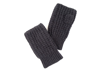 Vkoo Cashmere Fingerless Gloves, Charcoal