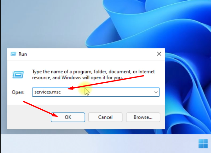 Type services.msc then ok