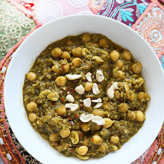 Chickpea Spinach Stew with Lentils and Quinoa.