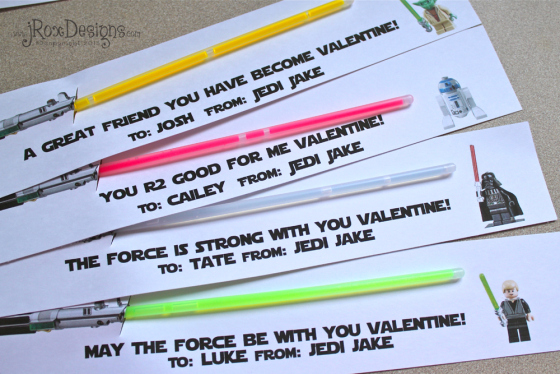 LEGO star wars light saber valentines