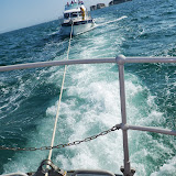 Poole ALB towing the 14.3m motor cruiser, with six people onboard, from Studland Bay to Royal Motor Yacht Club. 22 August 2013  Photo credit: RNLI/Anne Millman