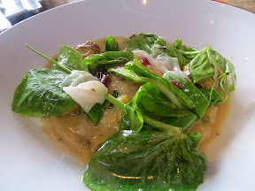 Raviolo- it was a seasonal special of egg yolk raviolo with herb ricotta, snap peas, baby artichokes, red onion jam, and lardo, Manhattan Beach Post restaurant, Manhattan Beach, Los Angeles