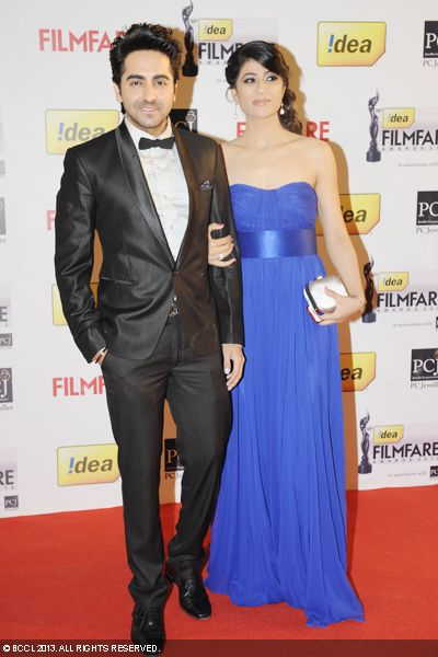 Bollywood couple Aayushman Khurana with wife Tahira Kashyap walked the red carpet at the 58th Idea Filmfare Awards, held in Mumbai.Click here for:<br />  58th Idea Filmfare Awards