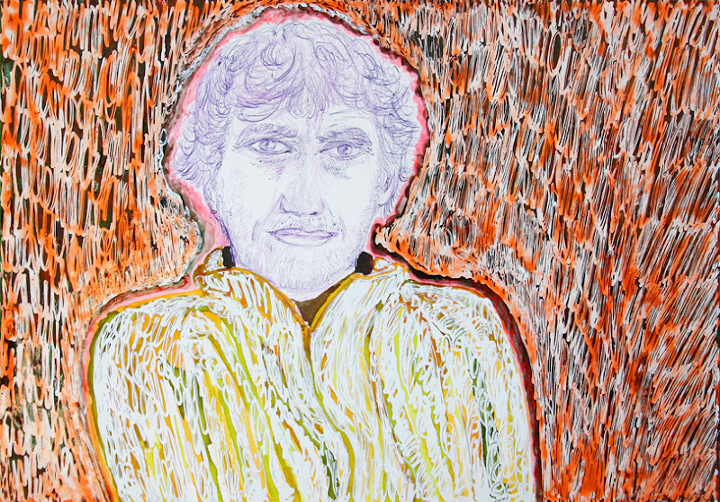 self-portrait in orange unrest ~ frank waaldijk