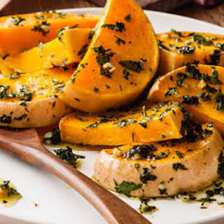 Roasted Butternut Squash With Garlic And Parsley.