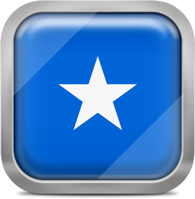 Somalia square flag with metallic frame