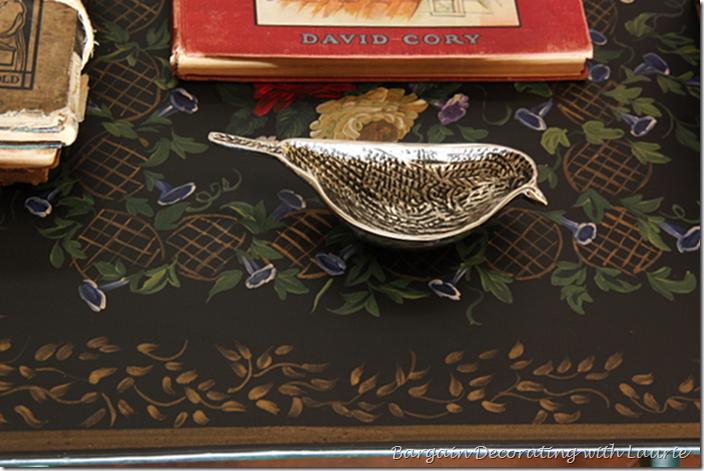 Silver Bird Dish in Coffee Table Vignette