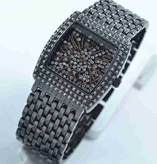 jam tangan  Bonia full diamond black metalik