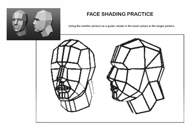 The Helpful Art Teacher: Face shading the 3/4 turned head