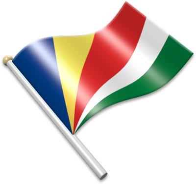 The Seychellois flag on a flagpole clipart image