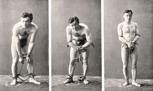 showing his ability to escape  from handcuffs, whether  American, Russian or German  1905
