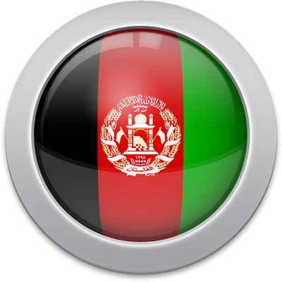 Afghan flag icon with a silver frame