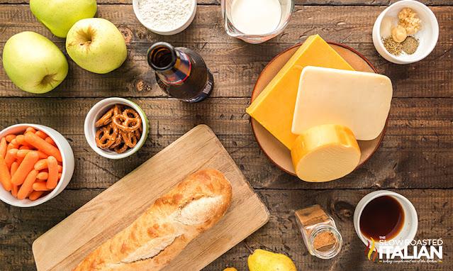 ingredients for Beer Cheese Fondue