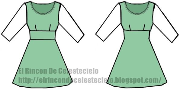 Vestido corte imperio ajustado en el talle, manga tres cuartos