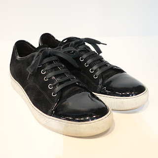 Lanvin Black Patent and Suede Sneakers