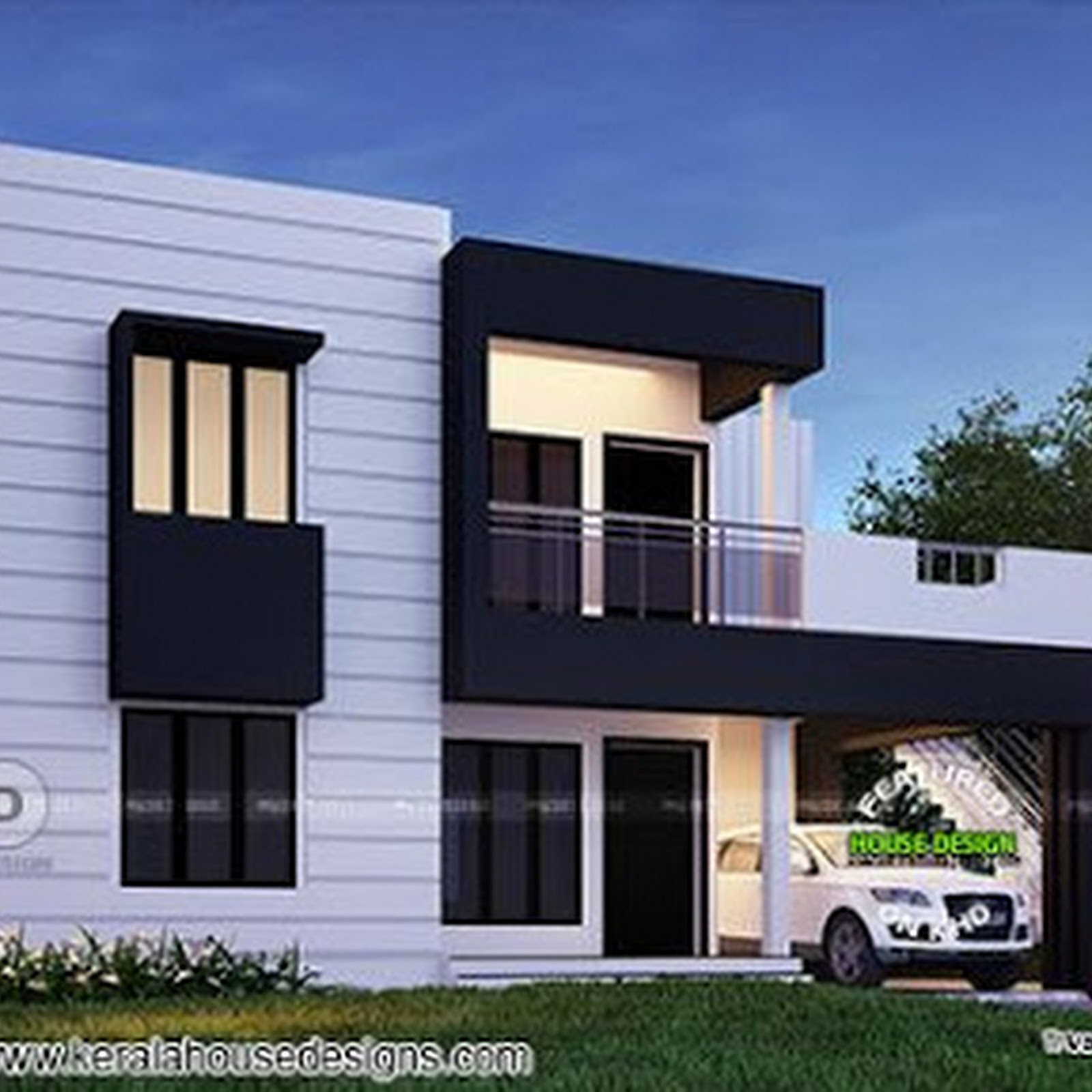 Beautiful flat roof kerala home design 1800 sq ft kerala for 800 sq ft house plans kerala style