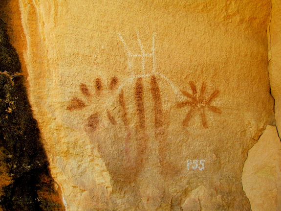 Chalked petroglyph and pictograph mix