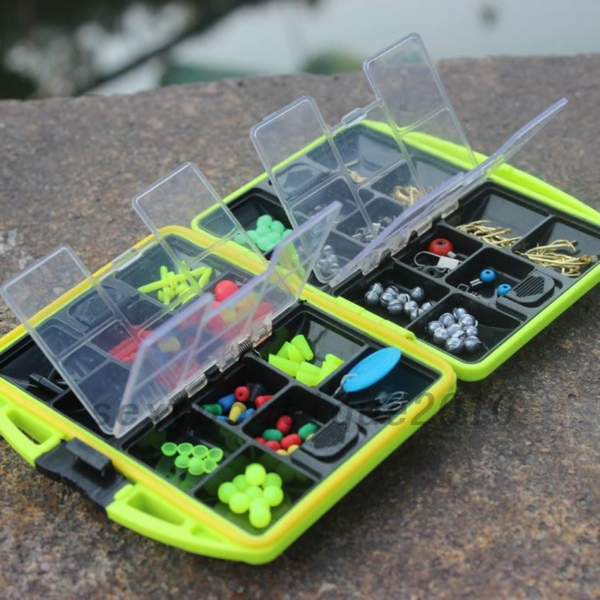 Assorted tackle utility box lure jig swivels hooks fishing for Jig fishing lure