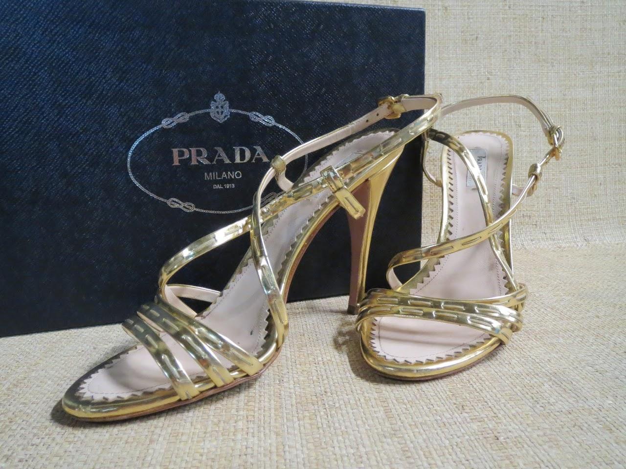 Prada Gold Sandals