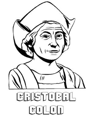 Pinto Dibujos Busto de Cristobal Coln para colorear