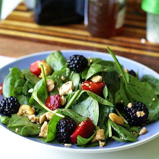 Strawberry-Blackberry Spinach Salad with Honey Balsamic Vinaigrette.